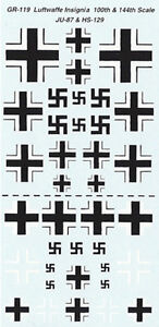 GR-119 - WWII German Aircraft Insignia - 1/100-1/144 Decals