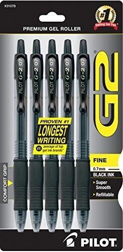 Pilot G2 Black Fine Gel Ink Rolling Ball Pen Retractable 0.7