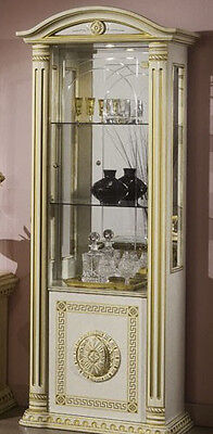 The Versace Design Italian Rossella Beige/Gold 1 Door Vetrine/Display Cabinet