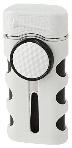 White Matte Vector Caddie Single Flame Jet Torch Cigar Butane Lighter - 9312