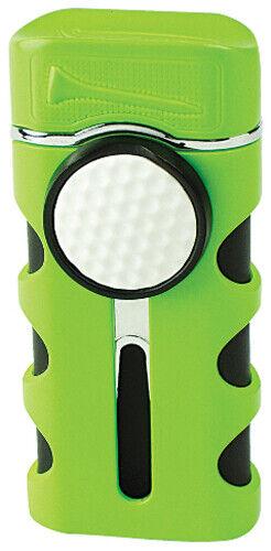 Green Matte Vector Caddie Single Flame Jet Torch Cigar Butane Lighter - 9312