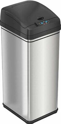 iTouchless - 13-Gal. Touchless Rectangular Trash Can - Silver // New//Free Ship