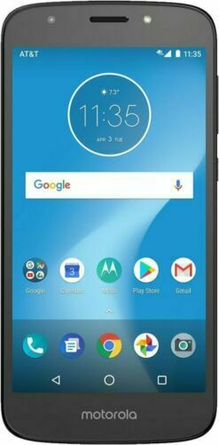 """Android Phone - Motorola MOTO E5 Play AT&T GSM 4G Prepaid 16GB 5.2"""" Android Smart Phone Black"""