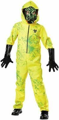 ZOMBIE Yellow Hazmat Suit Halloween Costume Boys Large 10 11 12 Lg Child