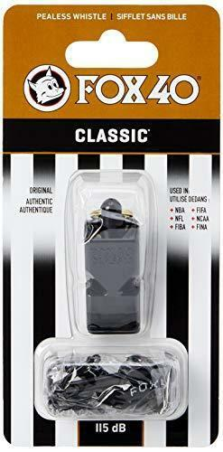 Fox 40 Classic Official Whistle with Break Away Lanyard (Black)