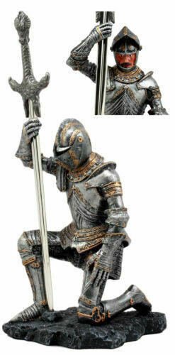 The Accolade Kneeling Medieval Knight Excalibur Sword Letter Opener Figurine
