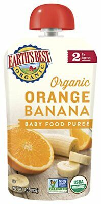 Earth's Best Organic Baby Food Puree Pouch, Orange & Banana, Stage 2 For Babies