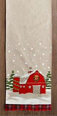New Primitive Country Farmhouse RED BARN Christmas Table Runner 71