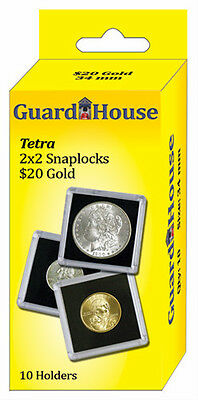 Guardhouse Tetra Snaplock Coin Holders,  20 Dollar Gold, 2x2, 10 pack