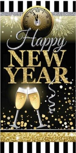 HAPPY NEW YEAR EVE  Scene Setter party wall door cover Backdrop gold & black 5
