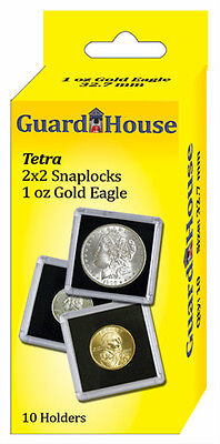 Guardhouse Tetra Snaplock Coin Holders, 1 oz AGE, 2x2, 10 pack