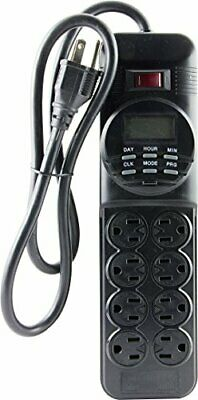 GE 7-Day Programmable Power Strip with Digital Timer, 8 Grou