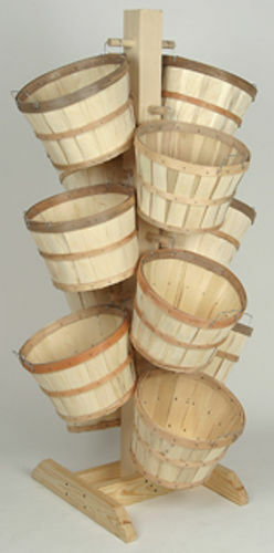 Wood Display with 12 Half Bushel Baskets Natural Wood Allow 3 days for shipping