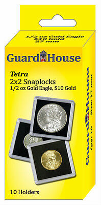 Guardhouse Tetra Snaplock Coin Holders, 1/2 oz AGE, 2x2, 10 pack