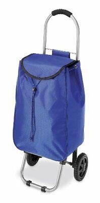 Shopping Cart Folding Basket Rubber Wheels Laundry Grocery Travel Trolley Bag Bl