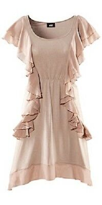 H&M Romantik Sommer Mini Kleid S 36 38 beige puder m. Volants Tunika Viskose NEU gebraucht kaufen  Bochum