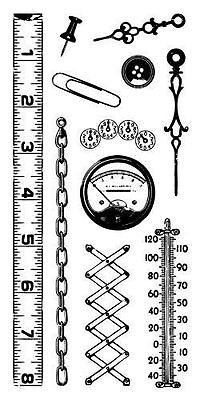 (Inkadinkado Gadgets Clear Stamp Set 11 pc Ruler Thermometer Chain Gages)