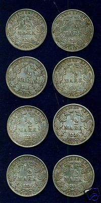 GERMANY EMPIRE  1/2 MARK COINS:  1912-1915, LOT OF (8)