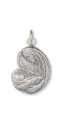 Virgin Mary with Baby Jesus Charm Sterling Silver Pendant Religious
