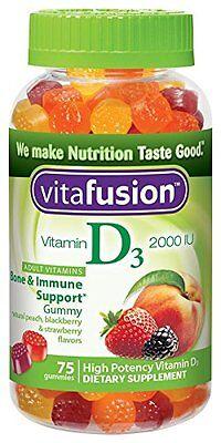 Vitafusion Vitamin D3 2000 IU Gummy Adult Vitamins Dietary Supplement 75 Each