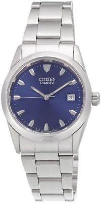 NEW Citizen BK1410-57L Men's Dress Blue Dial Date Stainless Steel Quartz Watch