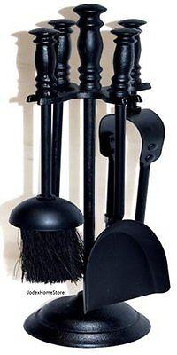 5Pc Fireplace Stylish Black Metal Companion set / Fire irons Traditional Style