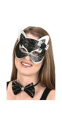 Womens Black Cat Mask and Bow Tie Halloween Costume Kitty Bowtie Adult - Black Cat Mask