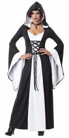 GOTHIC BLACK AND WHITE ROBE FANCY DRESS OUTFIT SIZE 10/12 GREAT FOR HALLOWEEN