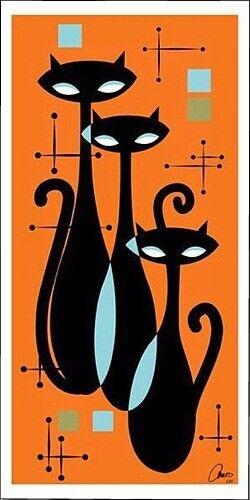 Vintage Trios of Retro Cats Art Print replica refrigerator magnet - new!