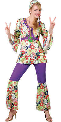 Hippie Chick XXL UK 26-28 Plus Size Ladies 1970s Fancy Dress 60s 70s Costume New - Plus Size Hippie Fancy Dress