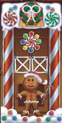 GINGERBREAD HOUSE MAN COOKIE Scene Setter Christmas  party wall/door BACKDROP 5' ()