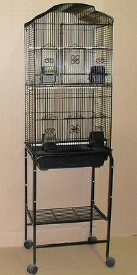 "63"" Tall Cockatiel Parakeet Finch Canary Bird Cage With Black Stand -682"