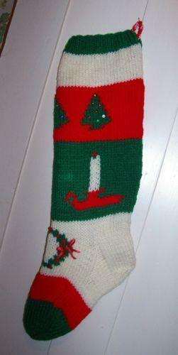Hand Knit Christmas Stocking Ebay