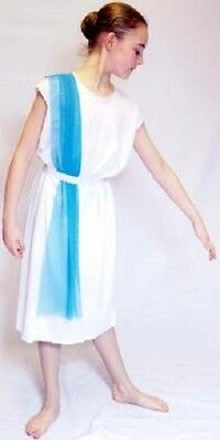 Ancient Rome Costumes (World Book Day-Ancient Egypt-Rome- SLAVE GIRL with BLUE SHOULDER DRAPE All)