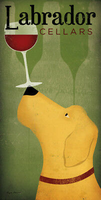 LABRADOR RETRIEVER YELLOW DOG WINE CELLARS PRINT RETRO ADVERTISING ART POSTER