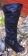 Black Knee High High Heel Boots Size 4