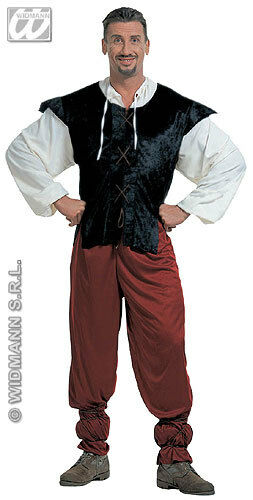Mens Medieval Tudor Tavern Man Fancy Dress Costume Outfit S M L Xl Xxl
