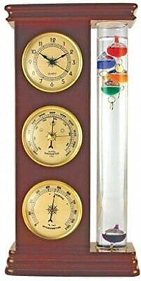 New in Sealed Box Galileo Thermometer Combination Station Cherry Wood Color