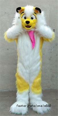 Unisex Adult Yellow Husky Fox Mascot Costume Suit Dog Long Fur Outfit Dress - Mascot Suit