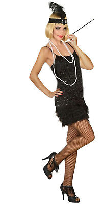 Flapper Kostüm XS/S-XXL Partykleid Zigarettenhalter Kette Stirnband - Kostüm Party Band