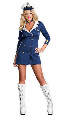 Sexy Adult Womens Halloween Costume Sailor Navy Blue Party Dress Admiral Medium