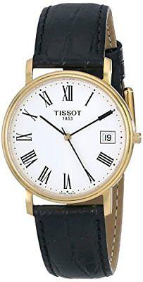 Tissot Desire White Dial Gold-Tone SS Black Leather Quartz Men's Watch T52542113