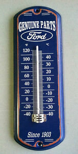 GENUINE-FORD-THERMOMETER-SINCE-1903-METAL-SIGN-MAN-CAVE-GARAGE-SHOP-FORD