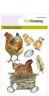 Motiv-stempel Clear-stamp Huhn Küken Ostern Ei Feder CraftEmotions 130501/1269 ()