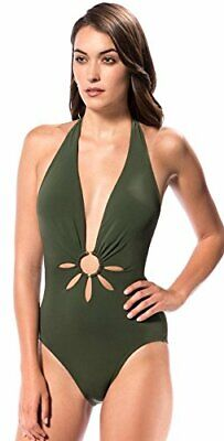 ROBIN PICCONE Ava Plunge Halter w Gold Ring One Piece Swimsuit Jungle Green Sz 8 Gold Ring Halter Swimsuit