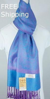 NEW DG Pashmina Scarf Wrap Paisley Floral Purple Turquoise Cashmere Silk