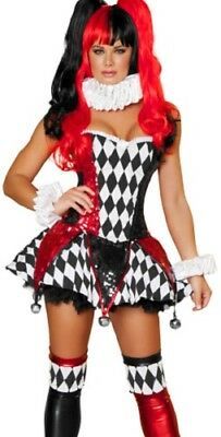 Circus Clown Harley Quinn Costume Tee Dress w/Small Bells for Halloween Cosplay