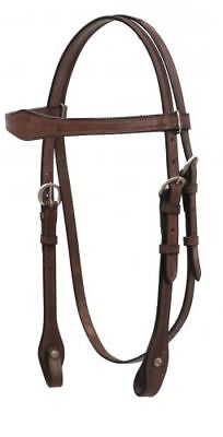 Browband Headstall Dark Oil (Western Saddle Horse Dark Oil Leather Browband Bridle Headstall Full Size Horse )