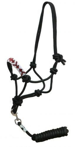 Showman Cowboy Knot Rope Halter w/ RED & WHITE Beaded Design Noseband HORSE TACK