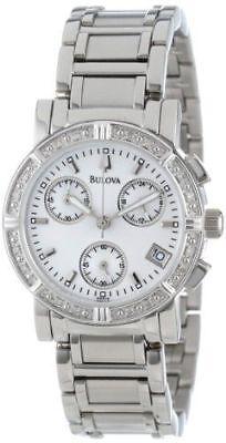 Bulova 96R19 Women's Dress Chronograph Silver Dial Diamond Studded Bezel Watch